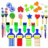 LAOZHOU LIMITED TIME OFFER 21 pieces Flower Sponge Painting Brushes for Kids Early Learning Painting Drawing Tools for Craft DIY Art Supplies