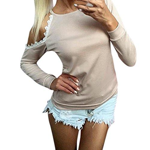 Damen Bluse Festliche Blusen Elegante Blusen Schulterfrei Blusen mit Spitze Tunikashirt Damen Classic Basics Tunika Blusen Langarm Oberteile Elegante Mode Hemd Top (Beige, XL) (Gedruckt Langarm-tunika)