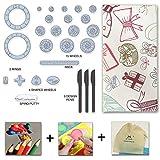 MC CHENMEI Spirograph Deluxe Set Spirografo 27 pezzi e 5 matite colorate e temperino e 5 lingue di guida Libro(Stile regalo)
