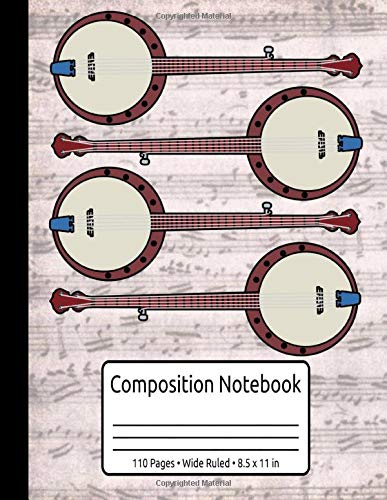 Vintage Banjo Gifts Women Men Bluegrass Country Music Banjo Composition Notebook 110 Pages Wide Ruled 8.5 x 11 in: Learn To Play Banjo Book
