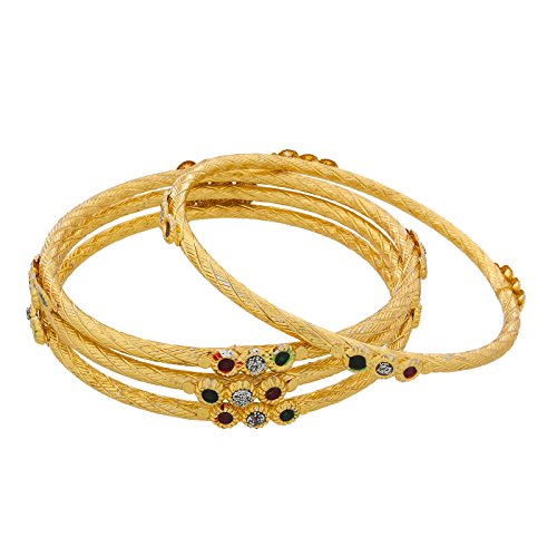The Luxor Designer Daily Wear Australian Diamond & Meenakari Bangles Set For Women (2.6)