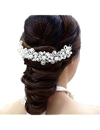 Saingace White Pearl Crystal Wedding Party Bridal Princess Jewelry Crown Hair Accessories Hair Clip Hair Pins...