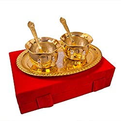 Adidev Adidev Silver and Gold Plated Handi Bowl,Tray With Spoon Set Of 5 Pcs.