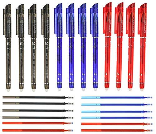 RHardware 12 bolígrafos de tinta negra, roja, azul, borrable de 0,5 mm y 12 recambio de gel de bolígrafos, papelería escolar