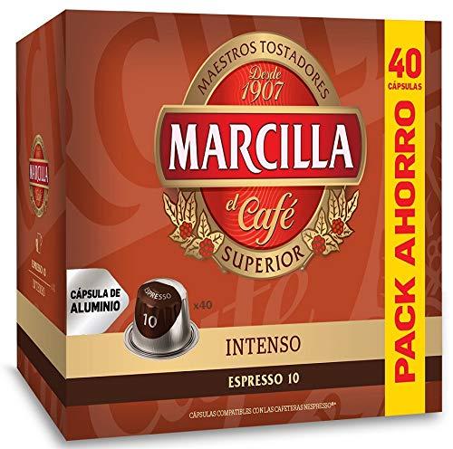 Marcilla Intenso - Capsulas Compatibles Nespresso Aluminio - Formato AHORRO 40 Cafés Espresso