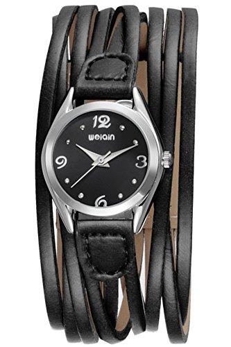 Armbanduhr Damen Schwarz Leder Wickelarmband Elegant Vintage Analog Quarz Designer Geschenke Kleines Zifferblatt