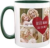 Personello® Fototasse Beste Mama der Welt, Tasse (grün) mit 4 Fotos und Text im Herz gestalten, spülmaschinenfest, Geschenk für Mutter, Muttertagsgeschenk, Fotogeschenk