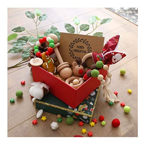 Frohe Weihnachten Santa Geschenke Boxen Mamimami Home Baby Holz Beißring Dummy Clips Bunny Rassel Lebkuchenmann Armband DIY Halskette mit Karte