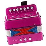 7 Tasten Kinder Knopfakkordeon Musikinstrument Pädagogisches Spielzeug - Fuchsie