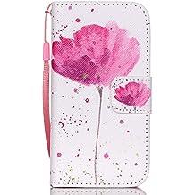 Meet de Apple iPhone6Plus iPhone6SPlus (5,5 Zoll) Bookstyle Étui Housse étui coque Case Cover smart flip cuir Case à rabat pour Apple iPhone6Plus iPhone6SPlus (5,5 Zoll) Coque de protection Portefeuille - Une fleur rose