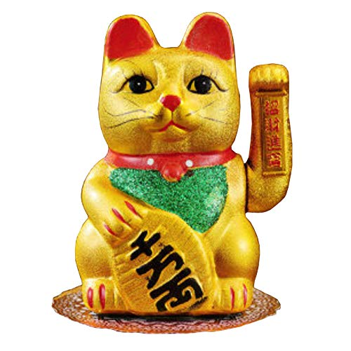 Gatto portafortuna giapponese in porcellana, H21 cm