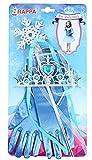Zauberhaftes Set für die kleine Eiskönigin - Handschuhe, Krönchen und Zauberstab