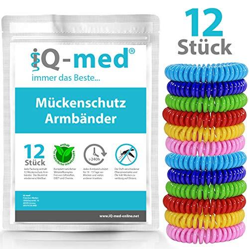 iQ-med Mückenschutz Armband 12 Stück | für Kinder geeignet | Mückenarmband gegen Moskitos, Mücken und Insekten