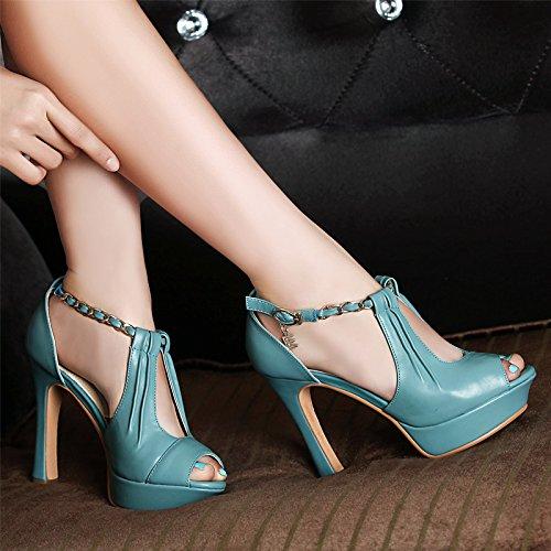 estate tacco alto sandali tacco bocca di pesce femmina le scarpe impermeabili scarpe blu