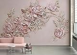 Mbwlkj Custom 3D Hd Fototapete Elegante Europa Nordamerika Öl Hand Malen Rosa Relief Rose Indoor Hotel Tv Hintergrund Wandmalerei-150Cmx100Cm