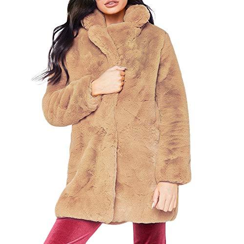 Riou giacca pelliccia donna elegante, donna cardigan cappotto con tasche bavero cappotti con maniche lunghe autunno inverno cappotto in ecopelle mid lungo moda peluche trench giacche a vento