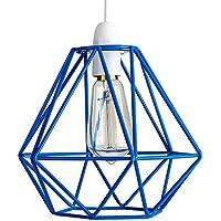 MiniSun - Paralume stile retrò di colore blu nella forma di un cesto - per (Illuminazione Decorativa A Sospensione Illuminazione)