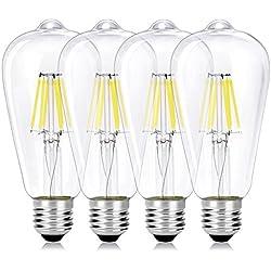 Wedna 4 Piezas Bombilla decorativa LED con filamento, ST64 E27 6 W Edison Bombillas, equivalente a 60 W, estilo vintage, No regulable, 6000K Blanco frío