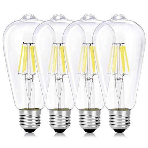 Wedna 4 Pezzi LED Filamento E27 Edison Lampadina, 6W ST64 vintage Lampadina (60W Incandescente Equivalente) a risparmio energetico Luce Bianco Fredda 6000K, Non dimmerabile, Vetro trasparente