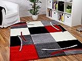 Maui Designer Teppich Rot Grau Schwarz Karo in 5 Größen REDUZIERT