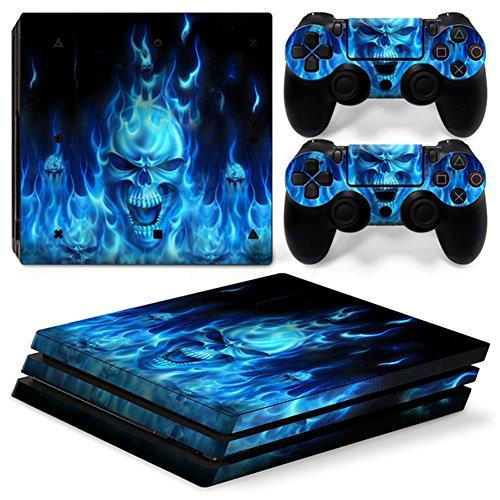 Stillshine PS4 Pro Skin Aufkleber Sticker Design Folie schützende Haut Schale für Sony Playstation 4 Pro Konsole & 2 Dualshock Controller (Skull Blue Fire)