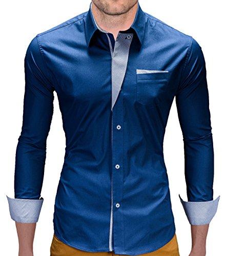 Camicia a maniche lunghe BetterStylz Romo Slim Fit camice Buiseness 4 colori dinotech per il tempo libero blu 58