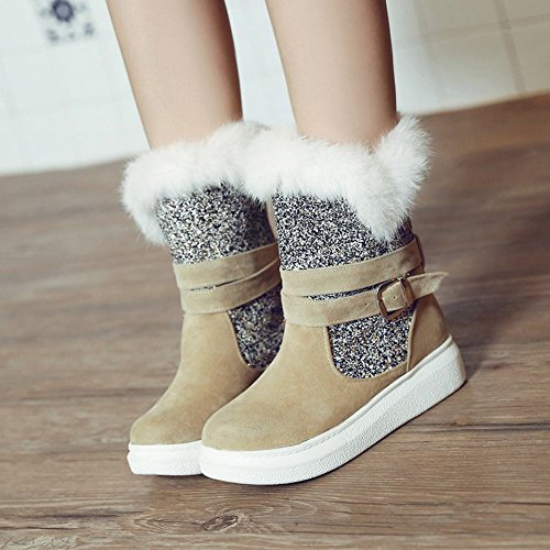 Mee Shoes Damen halbschaft Pailletten runde Schneestiefel Aprikose