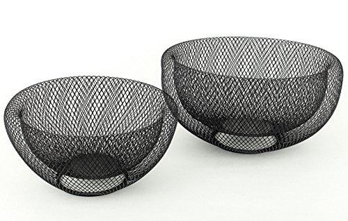 levandeo 2tlg.Schalenset 2er Set Metall 3D Effekt schwarz 24cm & 28cm rund Schüssel Dekoschüssel Schale Dekoschale Schwarz Schale