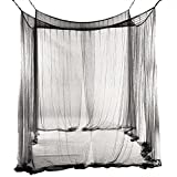 bigcity Bed Canopy Mosquito Net Curtain Solid Color Mesh 4 Doors Bedroom Home