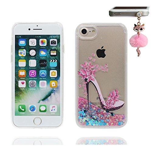 "iPhone 7 Plus Hülle, High Heels Skin Handyhülle iPhone 7 Plus, Glitter Bling Transparent Hard Clear funkelt Shinny fließend Apple iPhone 7 Plus Case Cover 5.5"", Schock-bestän und Staubstecker # 2"