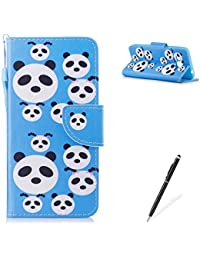 Samasung Galaxy J310/J3 2016 PU Premium Leather Phone Cases,MAGQI Flowers Panda Unicorn Cartoon Pattern Design Cover and [Scratch Proof] Flexible For Samasung Galaxy J310/J3 2016 Flip Wallet Shell-Cute Panda