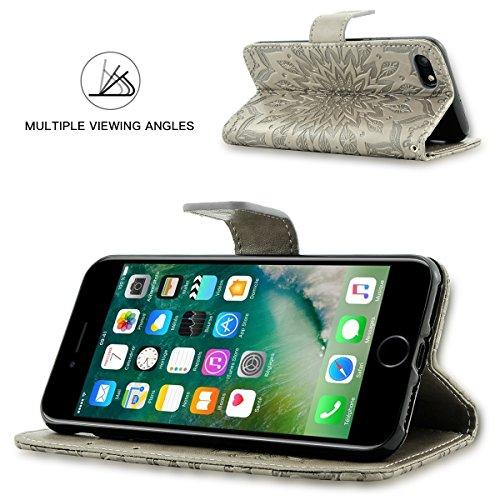 Fraelc iPhone 8 Plus Hülle Premium Kunstleder Tasche im Bookstyle Klapphülle mit Weiche Silikon Handyhalter Lederhülle für iPhone 7 Plus / iPhone 8 Plus (5,5 Zoll) Indische Sonne Design Brieftasche -  Grau