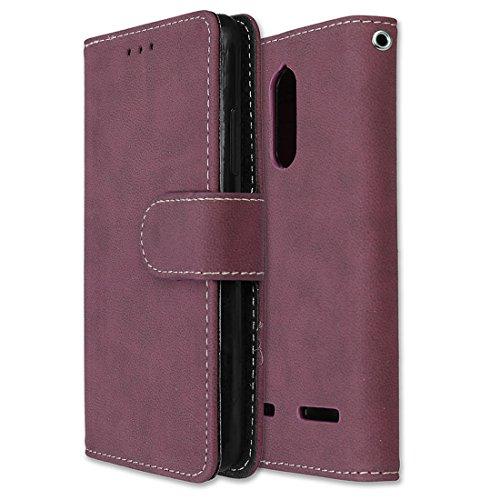 Lenovo K6 Power Hülle, Chreey Matt Leder Tasche Retro Handyhülle Magnet Flip Case mit Kartenfach Geldbörse Schutzhülle Etui [Rose Rot]