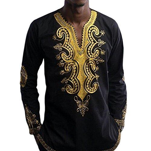 Haodasi Herren afrikanisch National Stil Hemd Langärmlig V-Ausschnitt T-shirt