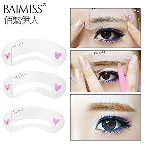 Generic Women' s Fashion Eyebrow Stencils Eyebrow Template Eye Brow Card Grooming Stencil Kit Shaping Shaper Make Up DIY Tools Makeup Set