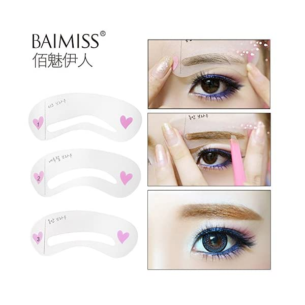 Generic Women' s Fashion Eyebrow Stencils Eyebrow Template Eye Brow Card Grooming Stencil Kit Shaping Shaper Make Up DIY…