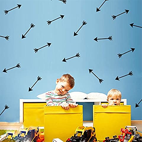 Yanqiao 24PCS/SET Arrows Wall Stickers Vinyl Lettering Wallpaper Home Decorations for Living Room Bedroom Kitchen Kids' Room Nursery Decor,Black