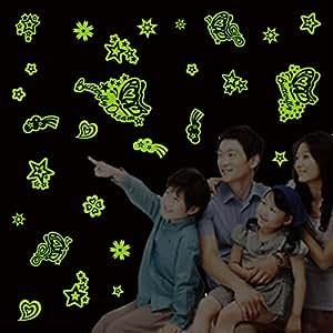 Autocollant Sticker Mural Phosphorescent Thème étoiles & Papillons