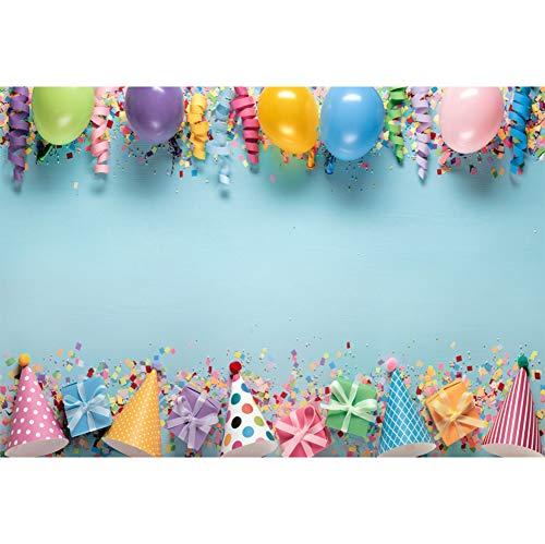 Cassisy 3x2m Vinyl Foto Hintergrund Geburtstag Innendekorationen Farbige Ballons Bänder Konfetti Fotografie Hintergrund für Photo Booth Party Kinder Fotostudio Requisiten - X Brief Ballon