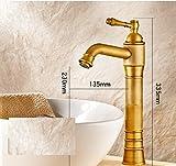 THk&M American Continental Copper Retro Faucet Black Bronze Basin Hot and Cold Rotation, D