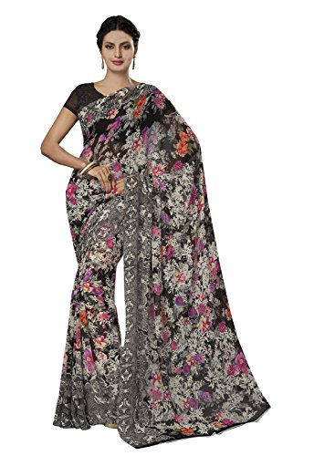 Ishin Faux Georgette Multicolor Printed Women's Saree.  available at amazon for Rs.199