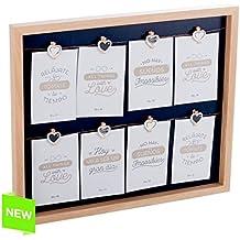 Dcasa - Panel portafotos con pinzas múltiple madera para 8 fotos
