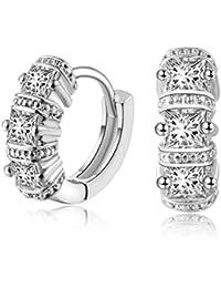 Pendientes De Diamantes Para Mujer Cuadrados Europeos Y Americanos Oro Blanco De Alta Calidad AAA Zircon