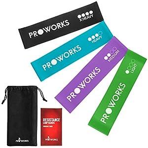 Proworks Fitnessbänder, 4-Teiliges Resistance Band Set – Sport Fitnessband für Beine Arme Po – Gymnastikband für Physiotherapie, Pilates, Yoga und Krafttraining – Verschiedene Stärken inkl. Booklet