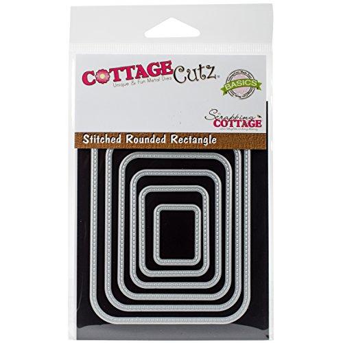 Cottage Cutz Basics Stanzschablone, Motiv: abgerundetes Rechteck mit Nähten -