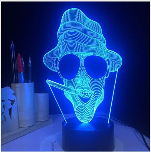 Neuheit 3D Cool Smoking Man Form Tischlampe Led Nachtlichter Als Urlaub Dekoration & Geschenke Touch-Schalter -