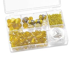 Gütermann / KnorrPrandell 6049050 - Caja con Perlas de Cristal para bisutería (tamaños Surtidos), Color Amarillo Importado de Alemania