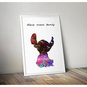 Lilo und Stitch inspirierte Aquarell Poster - Zitat - Alternative TV / Movie Prints in verschiedenen Größen (Rahmen nicht im Lieferumfang enthalten)