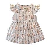Kindermode Sommer Prinzessin Kleid Mädchen,Yanhoo Kleinkind Baby Mädchen Armellose Fliegende Frucht/Tiere Print Kleid Prinzessin Kleid Outfits Minikleid Festlich Kleid