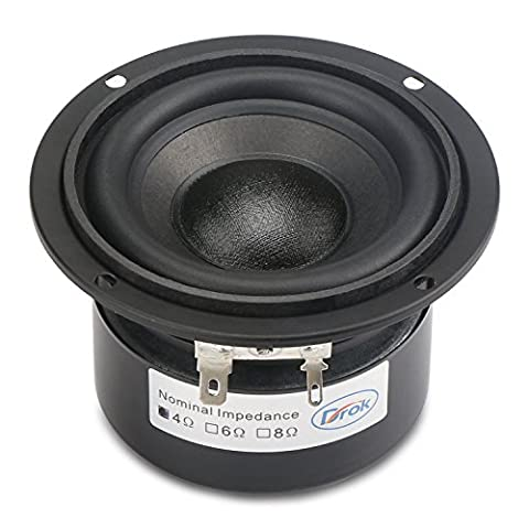 DROK® 3,5-Zoll-30W HIFI Subwoofer-Lautsprecher mit 85 dB Hohe Empfindlichkeit, 4Ω Lautsprecher mit Super-Low-Bass, Startseite Woofer Stereo-Lautsprecher geeignet für 2.0 Box / 2.1 & 5.1 Subwoofer / Echo-Wand Bass